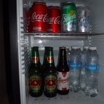 well stocked mini fridge - cabinet also had coffee maker with good assortment of coffee and tea