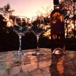 coucher du soleil autour d'un verre de vin, dans l'espace privatif de notre bulle