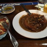 Here is my Chicken Marsala with a side of pasta.