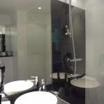 View of the shower, wash basin