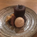 Chocolate Fondant with Honeycomb and homemade aero chocolate