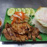Grilled pork with egg on steamed rice