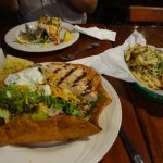 Taco salad and fish tacos. Fries were great but not really needed!
