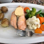 Salmon with lemon butter and local grown vegetables