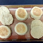 Delicious English muffins made on premises