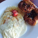 breakfast sweet pancakes with danish