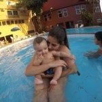 Aproveitando a piscina
