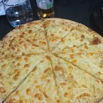 cheesy garlic pizza bread - starter- quite large but light and thin crust