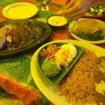 A full spread of food, including fajitas