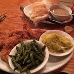 Chicken Tenders, Green Beans, Baked Squash, rolls and gravy