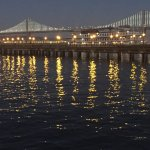View of Bay Bridge lights from Waterfront Restaurant