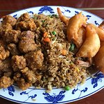 Combination platter with breaded shrimp, breaded pork and fried rice Driftwood Restaurant 4329 I