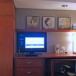 Closet, desk, TV; pull-out table under desk