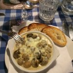 Lovely button mushrooms as a starter followed by pizza.