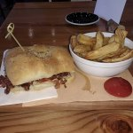 Montreal smoked meat sandwich and fries.