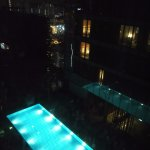 Club level pool at night