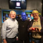 Yes, the Blue Men pose with you
