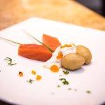 Balik Salmon with Boiled Potatoes, Horseradish Cream and Salmon Roe