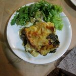 Lasagne with spinach and mushrooms