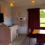 Motel kitchen with new 32 inch TV