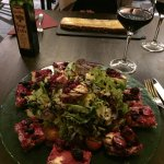 Toasts with goats cheese and forest fruits and salad and good wine!