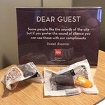 Hotel offers guests earplugs in case of disturbance from traffic.
