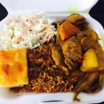Chicken curry, rice and peas, baked macaroni, cole slaw = $9.50