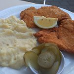 Shnitzel and mashed potatoes at Caffe Henrietta