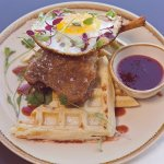 Confit duck leg with salted waffle