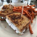 Chicken salad sandwich and sweet potato fries