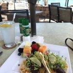 Lunch - Lemon Bay Tacos - Cast Iron Seared Swordfish on a Flour-Corn Tortilla with Black Bean Hu