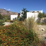 Bright gardens, cubist shapes and a rocky mountain