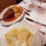 Duck ravioli and beef rolls