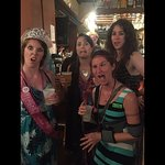 "Bachelorettes on Tara's personal ghost tour showing us their ""scary"" face at Moon River Brewing"