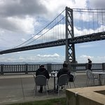 People hanging along the waterfront in San Francisco (view from our table)