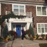 My Wife at the front entrance to Harbor House