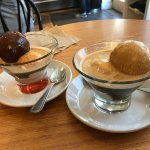 affogato with single shot (left) and double shot (right): beautiful!