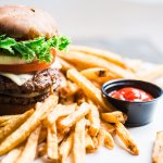 Double burger with fries