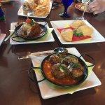 Eggplant, lamb meatballs & empanadas