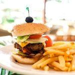 The Kanoa Burger is stacked high and can be found at the Isla Terrace.