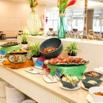 The Isla Cafe buffet is open daily serving up island favorites such as sushi, sashimi and poke.