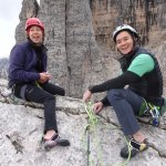 happy climbers at the top of a 140m multipitch