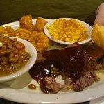 Baked beans, fried shrimp, Old Bay corn, Texas toast, beef brisket