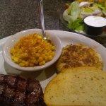 Dinner: Sirloin, texas toast,lump crabcake, old bay corn, and salad