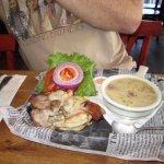 Chicken sandwich and chowder
