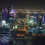 View of Doha city at night, from the 55th floor of the Intercontinental Hotel's Strata Lounge.