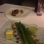 Pork belly and asparagus starters. Incredible hollendaise sauce.