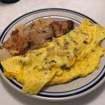 bacon, tomato, mushroom omelet