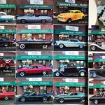 classic car photos in the vestibule