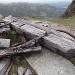 The fallen crossbar of the aerial ropeway at Saddlestone Bank
